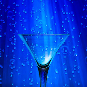 Light Martini by Michael Pachis - Artistic Objects Glass ( martini glass, barware, stemware, blue background, water droplets )