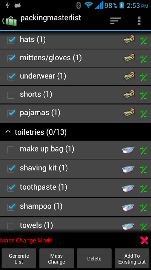 Packing List - screenshot