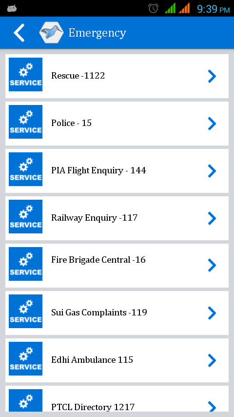 Mobile Packages List- screenshot