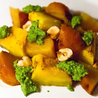Roasted Beets and Pumpkin with Arugula Hazelnut Pesto Recipe