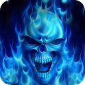Skulls in a blue flame live wp icon