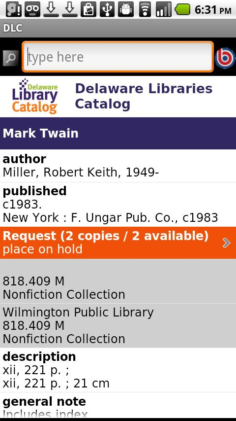 Delaware Library Catalog (DLC)- screenshot