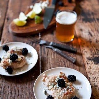 Beer Brined Pepper Lime Chicken with Gorgonzola and Blackberries