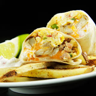 California Breakfast Burrito with Creamy Salsa (and French Fries!).