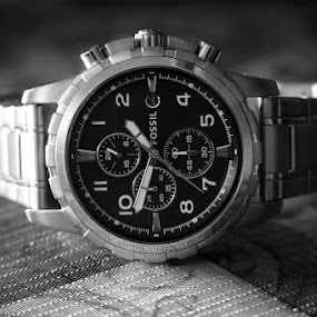 F O S S I L by Jay R Vismanos - Artistic Objects Jewelry ( product photography, b&w, second, black and white, watch, elegance, mens watch, bw, damn, photography, hand, product, luxury, time, wow, seconds, gorgeous, whoa, elegant, shadow, men, man )