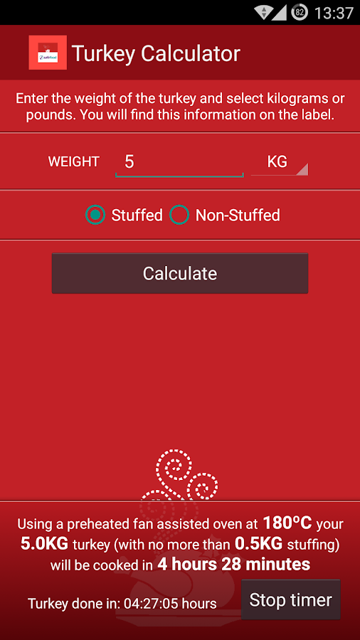 Turkey cooking time calculator android apps on google play for 3 8 kg turkey cooking time