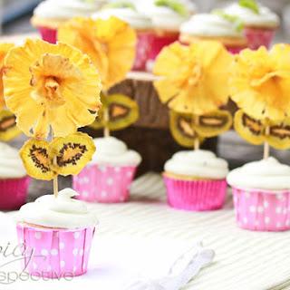 Pina Colada Cupcakes ~ Kiwi Frosting