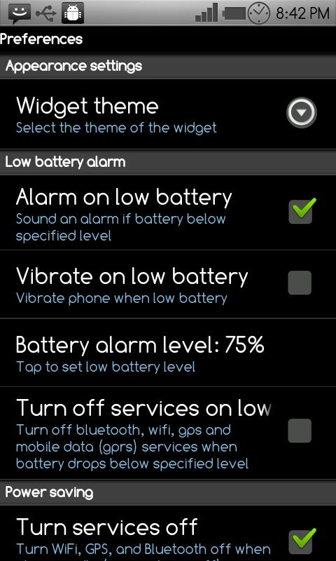 Battery Power Widget - screenshot