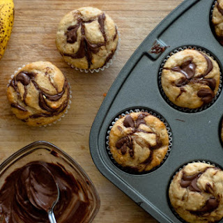 Banana Cupcakes with Nutella Swirl.