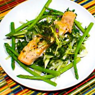 Fragrant salmon with English herb and flower salad