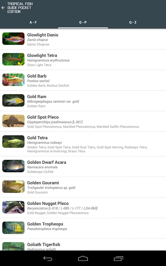 Tropical Fish Guide Pocket Ed.- screenshot