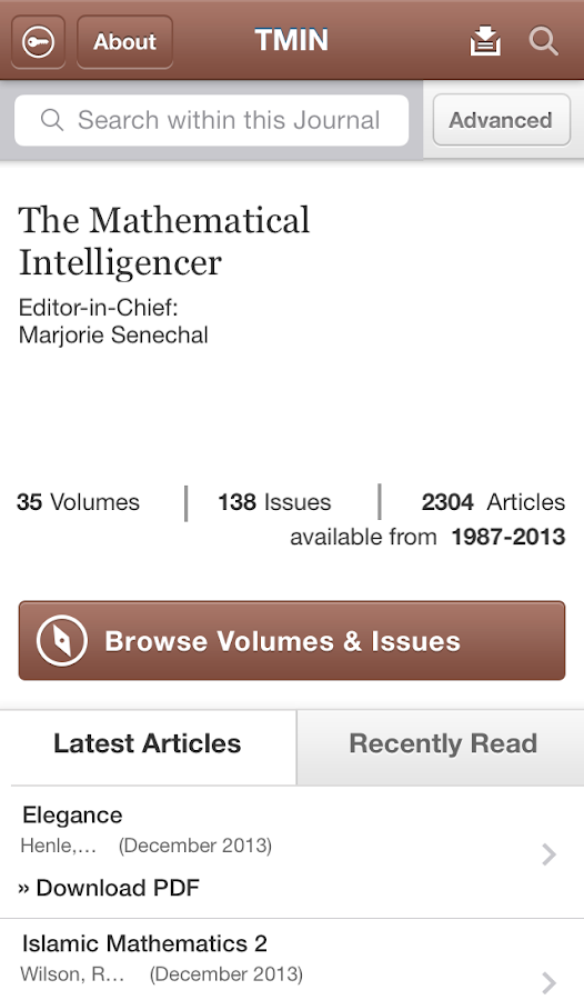 Mathematical Intelligencer- screenshot