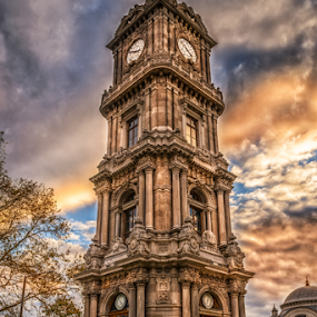 Dolmabahce Palace Clock Tower by Dobrinovphotography Dobrinov - City,  Street & Park  Historic Districts ( famous place, clock tower, dolmabahce palace, istanbul, architecture, history, architecture and buildings, tower, ancient, building exterior, turkey, built structure, travel destinations )
