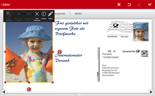 cewe postcard - Ihre Postkarte - screenshot