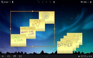 Screenshot of Sticky Notes HD Tablet Widget.