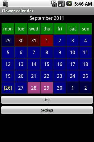 Flower calendar (free) - screenshot