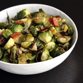 Roasted Brussels Sprouts with Apple and Bacon.