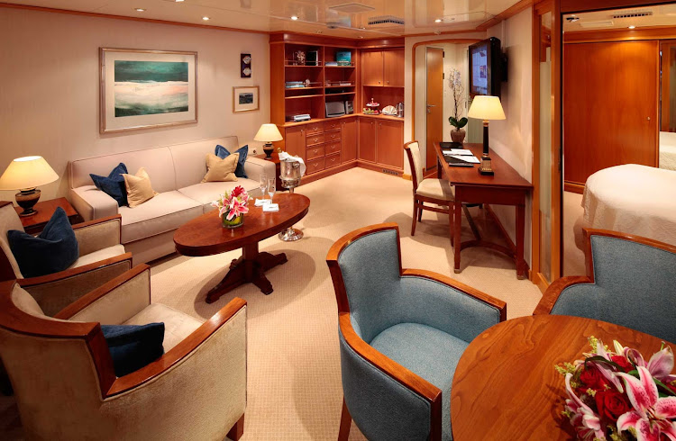 With 450 square feet, the Owners Suite on SeaDream comes with a master bedroom and bathroom suite, a living and dining room area and a guest bathroom.