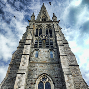 Towering by Philip McKibbin - Instagram & Mobile iPhone ( clouds, masonry, stonework, tower, arch, steeple, church, mortar, towering, stone, symmetry )
