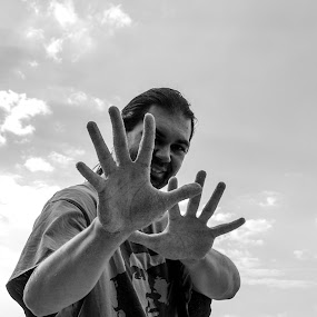 SandHand by Peter Jerman - People Portraits of Men ( sand, black and white, men, people )