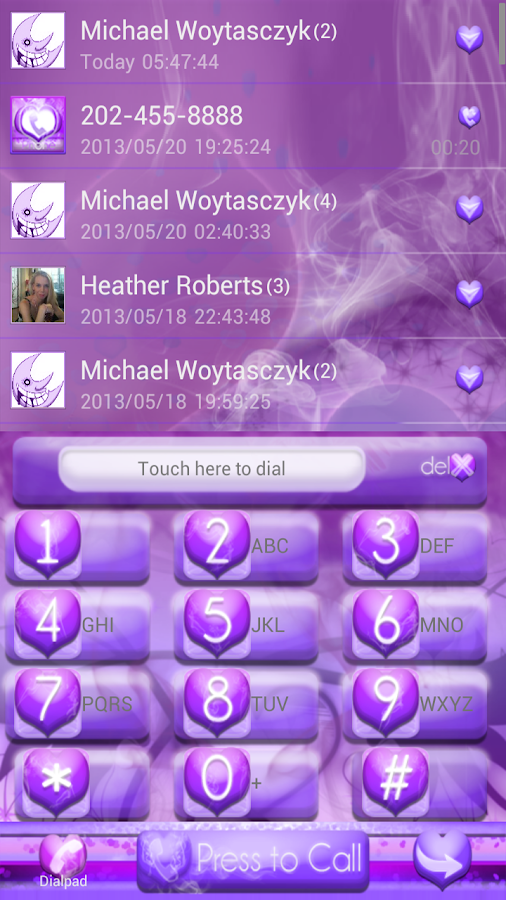 Purple Haze GO Contacts EX - screenshot
