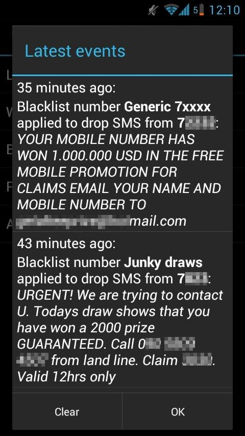Drop SMS: block sms spam - screenshot