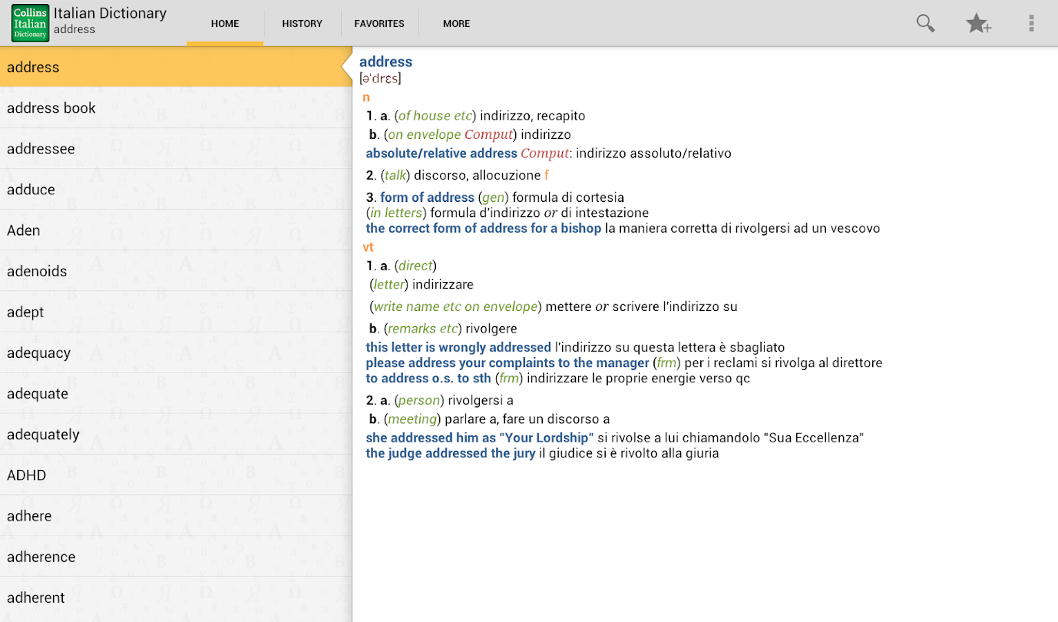 Collins Italian Dictionary TR - screenshot