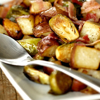 Roasted Potatoes and Brussel Sprouts with Bacon
