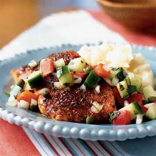 Spice-Rubbed Salmon with Cucumber Relish.