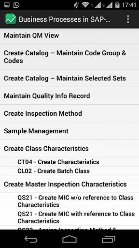 SAP QM Process List