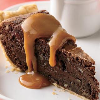 Fudgy Brownie Pie with Caramel Sauce