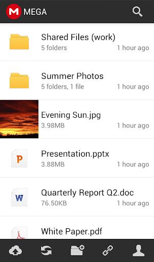 Esta aplicación ya estaba en Play Store, pero no era oficial, sino que la gente de Mega recién ha comprado esta App y ya la ha anunciado como la aplicación oficial del sucesor de MegaUpload, donde ofrecerán soporte para futuras actualizaciones. Con Mega v1.0.2 para Android, vas a poder crear y acceder a tu cuenta, donde tienes 50GB de almacenamiento seguro gratis en la nube. Todo lo que subes a MEGA está completamente encriptado, incluso ellos no tienen la clave de acceso a tus ficheros. Tú puedes encontrar más detalles,