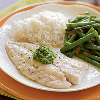 Snapper with Basil-Mint Sauce.