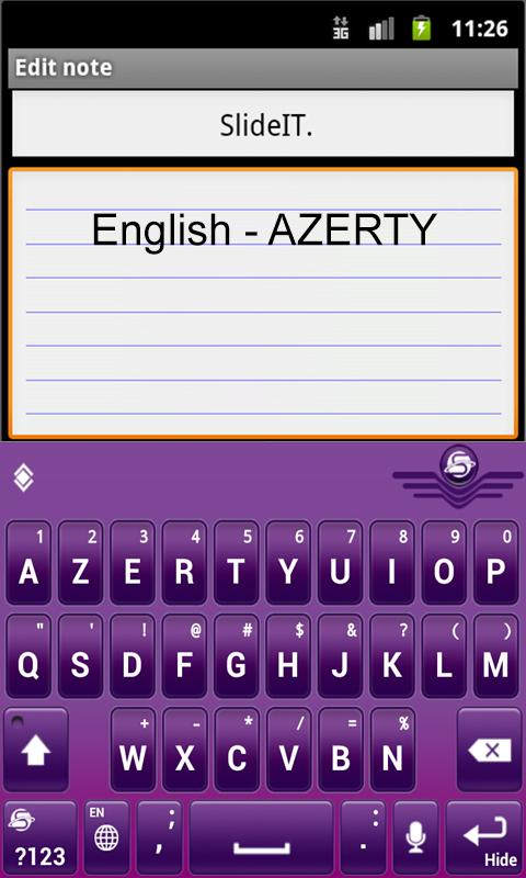 SlideIT English AZERTY Pack - screenshot
