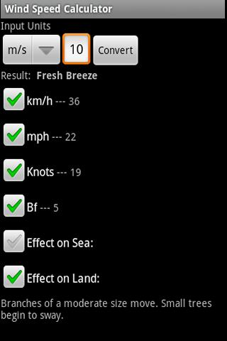 Wind Speed Calculator - screenshot