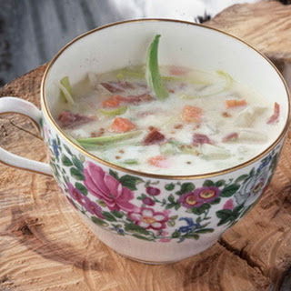 Potato, Leek and Ham Soup.
