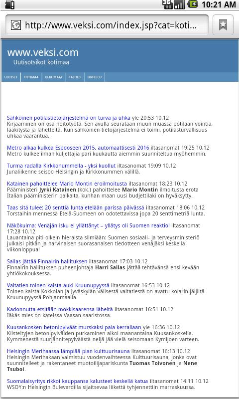 Uutiset - screenshot