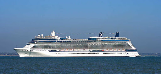 Celebrity-Eclipse-at-sea - Celebrity Eclipse arriving in Southampton, England.