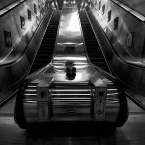 Going up by Leigh Brooksbank - Buildings & Architecture Other Interior ( london underground, tube, black & white, architecture, monotone, underground, escalator, london tube )