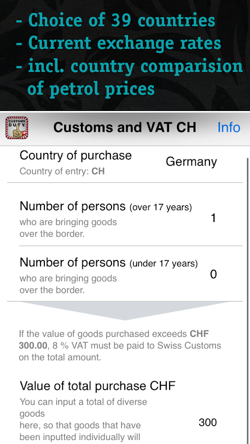 Swiss Customs & VAT- screenshot