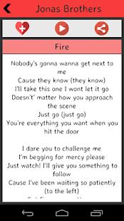 Jonas Brothers Lyrics screenshot