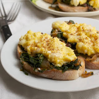 Scrambled Egg Tartines with Spiced Rainbow Chard.