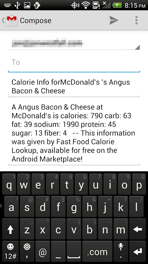 Fast Food Calorie Lookup - screenshot