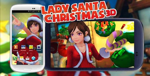 Lady Santa Christmas 3D HD lwp