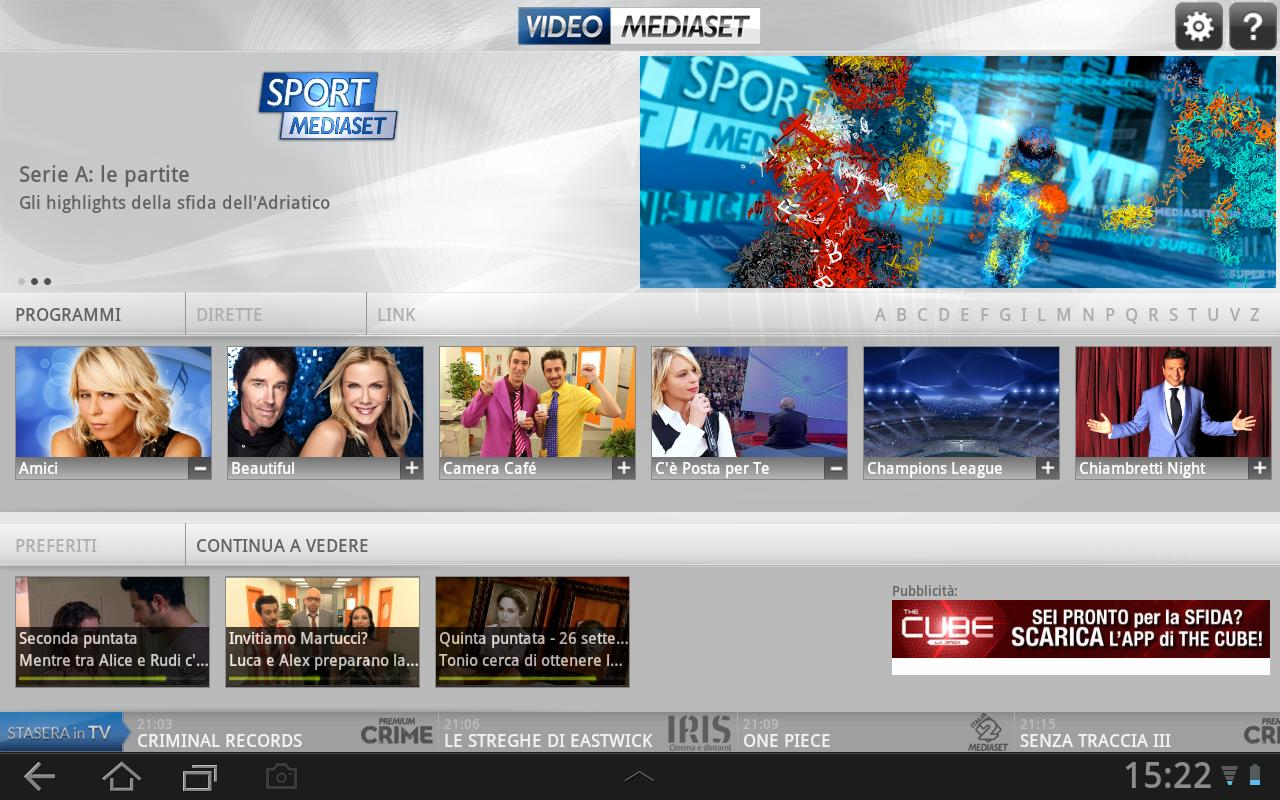 VideoMediaset HD - screenshot