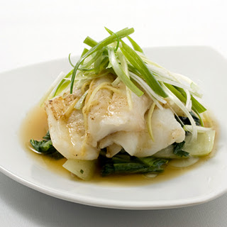 Steamed Scallion Ginger Fish Fillets with Bok Choy.