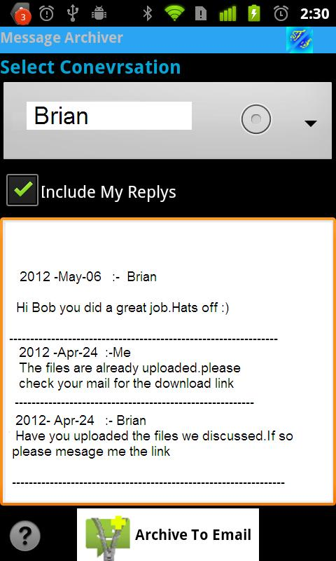 Message Archiver - screenshot