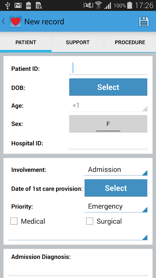 Intensive Care Logbook- screenshot