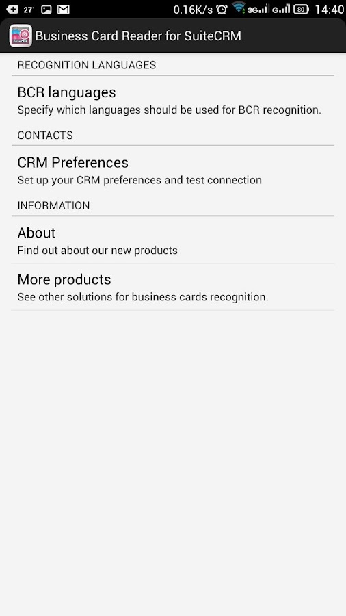 Free Business Card Scanner for Suite CRM- screenshot