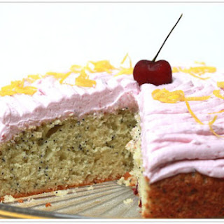 Lemon Poppy Seed Cake with Cherry Buttercream Frosting.